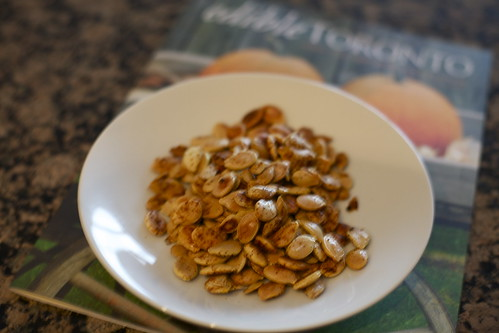 spiced roasted squash seeds