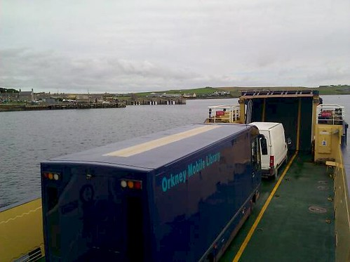 The Shapinsay ferry, with a bookmobile on board