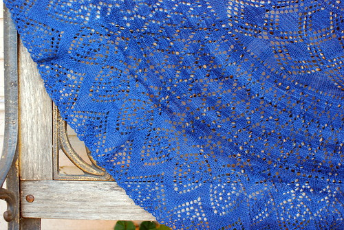blue shawl detail