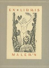 Ekslibris, Arne Fladager (klands trykksaker) Tags: mann kvinne nudisme ekslibris arnefladager henryschjrven