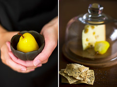 Saffron pears (zapxpxau) Tags: autumn fruit cheese dessert hands course canned pear aromatic crackers saffron poached explored