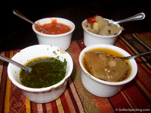 4 of the 8 homemade salsas that accompany the complimentary bread