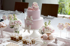 Dessert Table (Sweet Tiers) Tags: pink girl blossoms bows bootees christeningcake