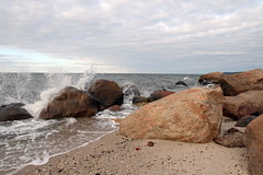 Glacial Erratics and Long Island Sound (sandy richard) Tags: usa newyork unitedstates geology wildwood wadingriver wildwoodstatepark sandyrichard longislandgeology sandrarichard