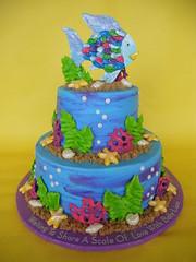 The Rainbow Fish Baby Shower Cake (CakesUniqueByAmy.com) Tags: baby fish cake shower rainbow