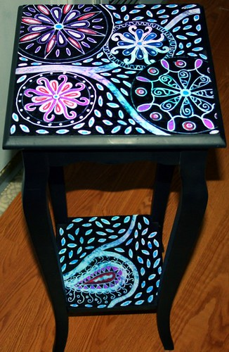 Accent Table with Batik Effect by Rick Cheadle Art and Designs