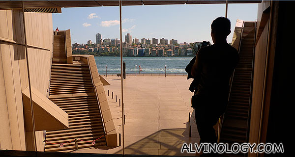 Willy taking a picture from inside Sydney Opera House