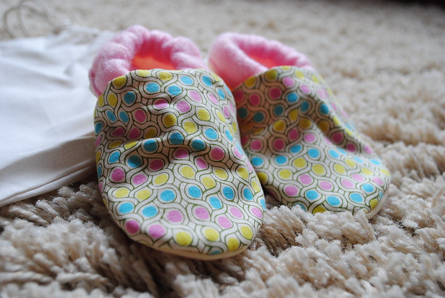 Phoebe testing Accidental Vix's baby booties!