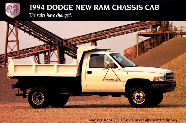 truck cab postcard dump dodge chassis 1994 ram 3500