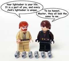 Saber Similarities (Oky - Space Ranger) Tags: training star funny lego master darth jedi obi anakin lightsaber wars vader mold wan clone skywalker hilt kenobi similarity