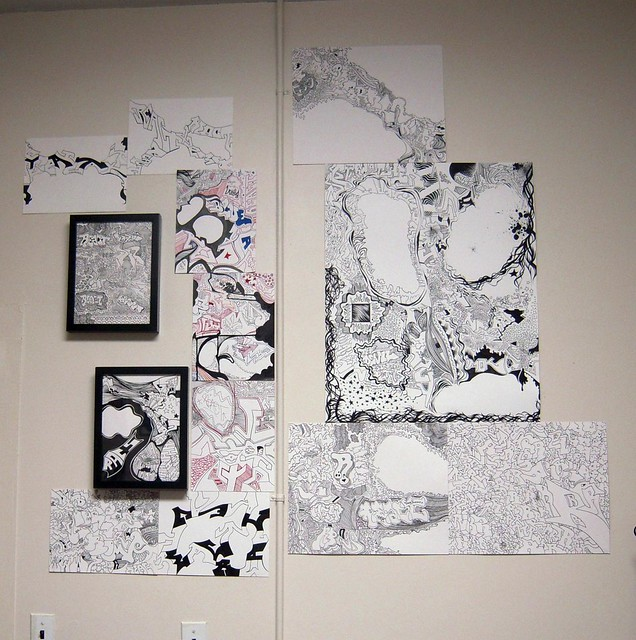 A wall full of automatic drawings