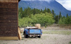 Alaska - The mystery of the missing front half (blmiers2) Tags: travel trees mountain mountains green nature alaska truck photography yukon finepix fujifilm klondike carcross z30 2011 blm18 blmiers2