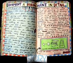 WTJ #1 - Document a boring event in detail (Zo Ford) Tags: art journal story doodle page wreck wtj wreckthisjournal