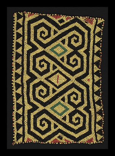 //Bead Panel// from a baby carrier, Basap people, Borneo 19th century, 30 x 21 cm. From the Teo Family collection, Kuching. Photograph by D Dunlop.