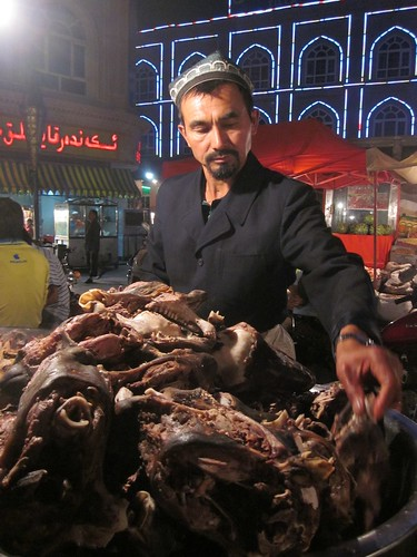 Boiled sheep head, night market, Kashgar.