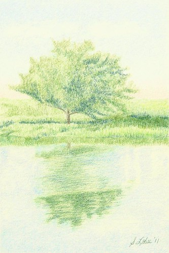 A Fine Day in Green and Blue, colored pencil