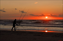 evening doings (leuntje) Tags: sunset beach netherlands strand fisherman zonsondergang angle noordzee visser northsea noordwijk angler hengel zeevissen seafishing duindamseslag