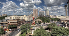 Downtown during the day (BrianMoranHDR) Tags: sky skyline sanantonio clouds marriott mall photography hotel texas cloudy hilton courtyard filter hyatt hdr riverwalk towerofamericas sanantonioriver rivercenter canon1022mm satx mysa hdrsoft topazlabs canon60d niksoftware colorefexpro3 viveza2 adobephotoshopcs5extended denoise5 silverefexpro2 photomatixpro402