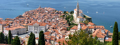 Panoramic view on medieval town Piran (Bn) Tags: old sea streets heritage architecture square geotagged coast town topf50 mediterranean gulf cathedral pirates gothic charm historic slovenia era tribes venetian walls piran slovenija viewpoint picturesque narrow cultural adriatic alleys istria slovene pirano sloveni tartini istrian preroman histri 50faves giuseppi illyrian georgius obzidje gulfofpiran piransko geo:lon=13572254 geo:lat=45528116