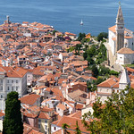 Panoramic view on medieval town Piran