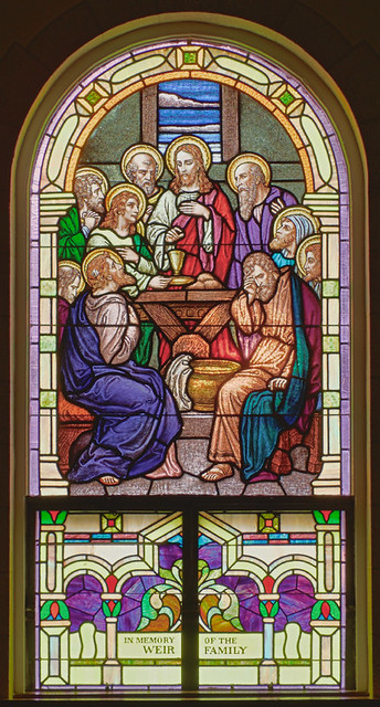 Holy Cross Roman Catholic Church, in Cuba, Missouri, USA - stained glass window of the Last Supper