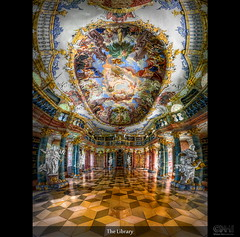 The Library (HDR Vertorama) (farbspiel) Tags: panorama history photoshop germany logo geotagged nikon library wideangle historic blended handheld stitching photomerge stitched dri deu hdr ulm watermark hdri blend topaz adjust superwideangle infocus 10mm postprocessing badenwrttemberg ultrawideangle photomatix digitalblending wasserzeichen tonemapped tonemapping wiblingen denoise watermarking detailenhancer vertorama d7000 nikkorafsdx1024mmf3545ged geo:lat=4836151017 geo:lon=999252677
