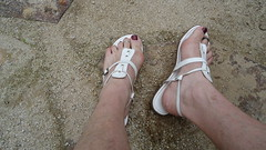 White thong sandals with backstrap (2moshoes) Tags: back thong strap sandal