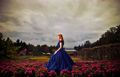 burst of color (Matt Andrews Photo) Tags: blue dress biltmore orangehair purpleflowers nontraditional colorburst