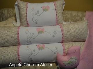 Kit bebê coleção lindo pássaro em tons de rosa