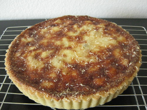 golden brown, melted cheese-topped tart