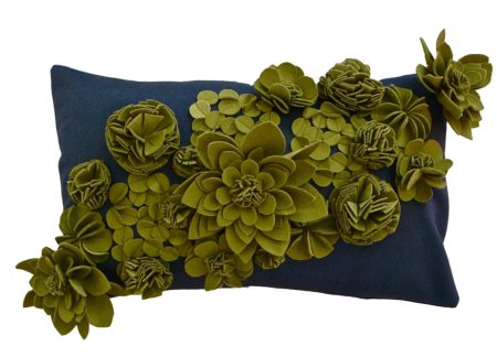 green and grey floral cushion