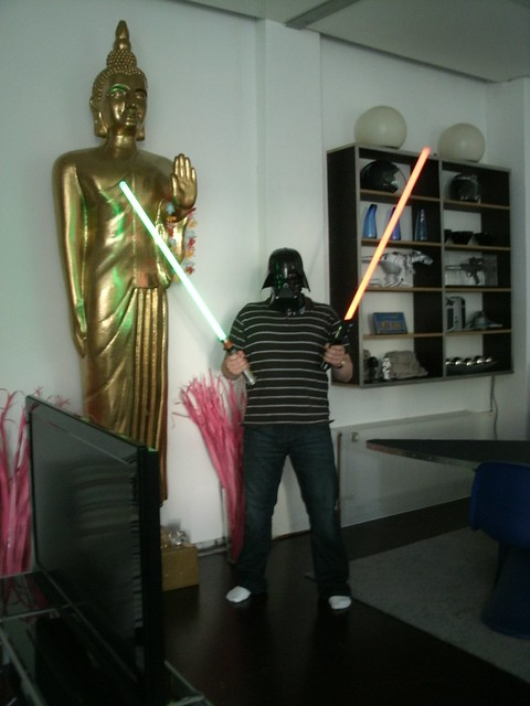 Patrick with light-sabers