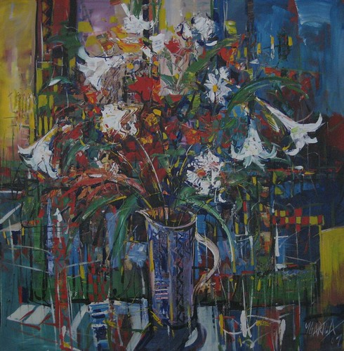 White Flowers in Tall Vase