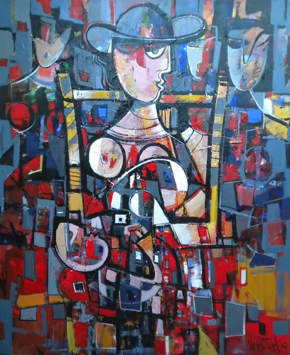 Woman in Chair - Painting - Cubism