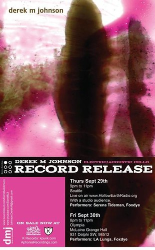 Derek M. Johnson Record Release flyer for Hollow Earth Newsletter