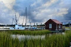 DSC_0194 (skitpero) Tags: sunset storm sc grass clouds boats southcarolina charleston palmtrees marsh palmetto paddleboats shrimpboats mtpleasant lowcountry trawlers shemcreek