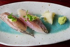 Horse mackerel nigiri sushi (+1 in comment) (Lindeberg Feller) Tags: food macro closeup sushi lumix cuisine japanese restaurant md maryland panasonic nigiri bethesda aji dmc horsemackerel lx5 takogrill