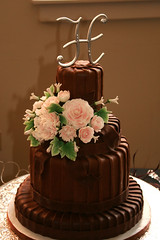 "chocolate pleated wedding cake • <a style=""font-size:0.8em;"" href=""http://www.flickr.com/photos/60584691@N02/6183392433/"" target=""_blank"">View on Flickr</a>"