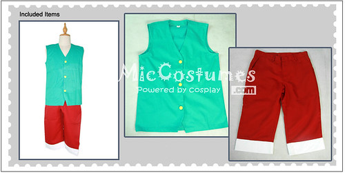 One Piece Luffy Green Cosplay Costume_1