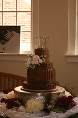 "Chocolate pleated wedding cake • <a style=""font-size:0.8em;"" href=""http://www.flickr.com/photos/60584691@N02/6183909536/"" target=""_blank"">View on Flickr</a>"