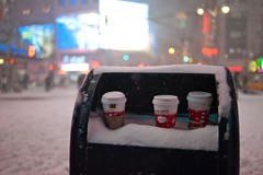 New York City winter (DaveMosher) Tags: nyc newyorkcity winter snow cold ice coffee mailbox cups timessquare blizzard