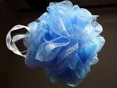 Bathtime blues (amy's antics) Tags: reflection mesh ribbon nylon paleblue bodyscrubber 365daysincolour