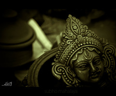 subho mahalaya {on the eve of durga puja} (swarat_ghosh) Tags: india festival asian 50mm nikon asia goddess celebration clay idol hyderabad durgapuja hindufestival mahalaya d3000 swaratghoshphotography