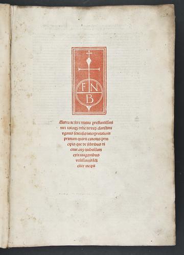 Title-page printed in red from Hugo Senensis (Bentius): Expositio in primam fen quarti Canonis Avicennae