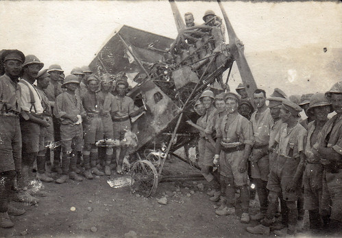 British soldiers posing with a wrecked Ottoman AEG C.IV fighter plane. Palestine. WW1.