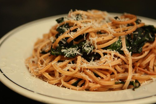 Flour City Red Onion Linguine with Beet Greens, Garlic, and Parmigiano-Reggiano