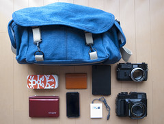 The bag shot. (Japancamerahunter) Tags: camera moleskine japan canon bag samsung gear rangefinder gas bagshot cameraporn gearporn domke fujifujifilm japancamerahunter