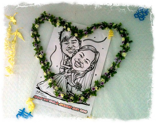 Wedding caricature in pen & brush - on site 1
