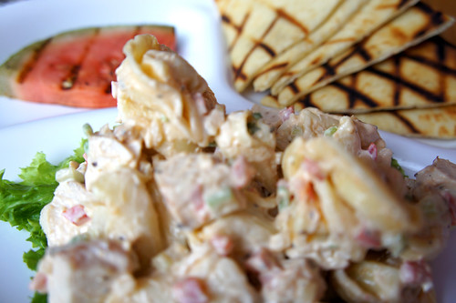 Tortellini salad, pita, and grilled watermelon