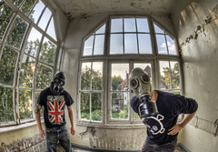 Right pair of clowns (odin's_raven) Tags: abandoned hospital germany gas masks hdr ue urbex sanitorium talkurbex